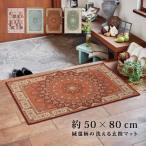 絨毯柄の洗える玄関マット トロワ・ターコイズ・プリシア・パレス 約50×80cm 玄関マット 室内 屋内 おしゃれ かわいい 洗える アジアン 高級感 滑り止め 花柄