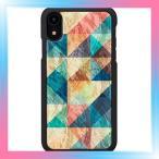 ikins iPhone XR ケース 天然貝 Mosaic ブラックフレーム アイキ