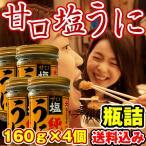 ウニ うに 訳あり 送料込み (塩うに)甘口 塩うに 640g(160g×4個) 瓶詰め 北海道函館製造 生うに食感を活かした濃厚甘口仕上げ (高品質チリ産生うに使用) urchin
