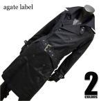 agate label サテンツイル ロング丈トレンチコート[ホワイト/ブラック]127010/メンズ お兄系  きれいめ系 ストレッチ 黒 白 大きいサイズ