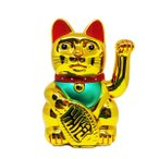 招き猫 猫 金色のゴージャスな招き猫 電池を入れれば自動的に手を招きます 金運 招猫 幸福 商売繁盛