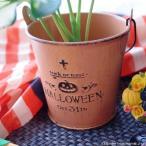 ショッピング ハロウィン ガーデン雑貨 鉢カバー スチール製 ハロウィンのエンボスが可愛いオランジュバスケット