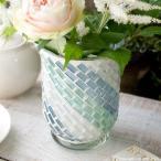 フラワーベース 花瓶 ガラス ステンドグラス風フラワーベース ブルー