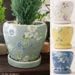和風・洋風どちらにも♪白と青の花柄がおしゃれな陶器の植木鉢