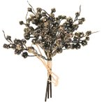 売り切り特価  造花 MAGIQ 東京堂  グリッターベルベリー #20 ブラックゴールド 3本 FJ006684-020 造花実物、フェイクフルーツ ベリー