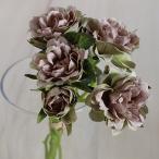 即日  造花 アスカ ローズバンチ×5 1束6本  モーブグリーン A-31865-55G|造花 バラ 00  造花 花材「は行」 バラ