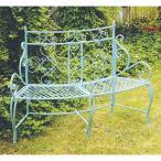 大同クラフト カーブベンチLB 水色 ABCB17-01 ガーデン家具 ベンチ ブランコ