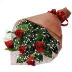 花束-511560  (赤バラとかすみ草の花束)花キューピット商品