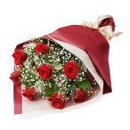 花束-511577 (赤バラとかすみ草の花束)花キューピット商品