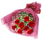 花束 - 512194(赤バラとかすみ草の花束) 花キューピット商品