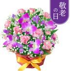 敬老の日フラワーギフト - 512254(ピンク系のお花とかすみ草のアレンジメント) 花キューピット商品