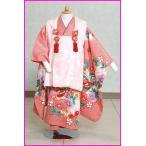 〔京都〕七五三3歳被布セットレンタル330 しぼり風 お花ちょう柄ピンクのヒフ [七五三 3歳 女の子]
