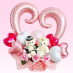結婚式 バルーン 電報 ぬいぐるみ 祝電 ギフト 記念日 かわいい ピンク プレゼント 造花