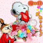 母の日に贈る スヌーピー & リトルミィ レインボーカーネーションバスケット バルーン&生花アレンジメント