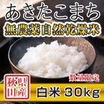 令和2年産米 秋田県産 あきたこまち 無農薬自然乾燥 白米 30kg 農家直送