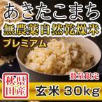 新米 令和2年産 秋田県産 あきたこまち 無農薬自然乾燥プレミアム 玄米 30kg 農家直送