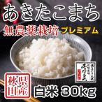 令和元年産米 秋田県産あきたこまち 無農薬栽培プレミアム 白米 30kg 農家直送