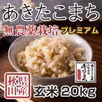 令和2年産米 秋田県産あきたこまち 無農薬栽培プレミアム 玄米 20kg 農家直送