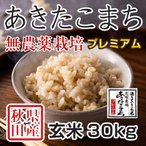 新米 令和2年産 秋田県産あきたこまち 無農薬栽培プレミアム 玄米 30kg 農家直送