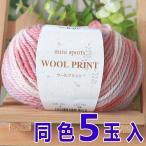 元廣 ミニスポーツウールプリント 同色5玉1袋単位 手編み 毛糸 ウール100% マフラー セーター ニット小物