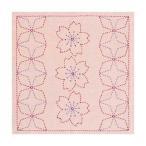 刺し子 キット 243 花ふきん「桜と角七宝」(渋ピンク) オリムパス