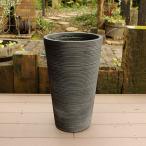 植木鉢 ファイバークレイ ストライプ 丸型 背高 30×50 ブラック