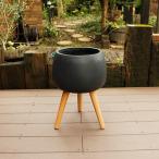 植木鉢 ファイバークレイ 丸型 ハイタイプ脚付き 29×42 ブラック