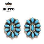 HARPO アルポ ボヘミアン 天然石 ターコイズ サークル シルバー スタッズピアス Turquoise Earrings (Silver)