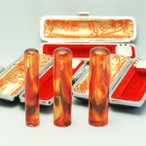 印鑑 琥珀 実印 印鑑ケース付 琥珀(こはく) 3本セット 15mm+銀行印13.5mm+認印10.5mm はんこ ハンコ 判子 ケース付き フルネーム 女性