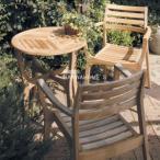 ロータステーブル(φ60) 3点セット / ガーデンファニチャー セット / ガーデンテーブル / ガーデンチェアー / ベランダ / テラス / 天然木製 / チーク