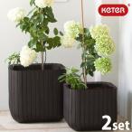 KETER Cube Planter M・S set/木調キューブプランターM・Sセット/大型プランター/ケター/植木鉢/軽量/プラスチック