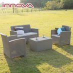 ガーデンソファセット イノバ ラタン調ジャージー4点セット 大型宅配便 ガーデンテーブル ガーデンチェア カフェ 屋外家具 あすつく対応商品