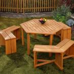先行予約 7月上旬頃入荷予定 ガーデンテーブルセット 木製六角テーブル 4点セット メーカー直送 代金引換・同梱不可 ガーデンファニチャー テーブル チェアー