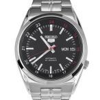 ショッピング自動巻き SEIKO 5 セイコー5 逆輸入 日本製 自動巻き メンズ 腕時計 SNK571J1 ブラック×シルバー メタルベルト MADE IN JAPAN  電池交換不要