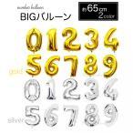 【ストロー付】数字 バルーン 風船 ゴールド シルバー 誕生日 バースデー 約65cm 送料無料