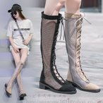 2色 サマー夏ファッションブーツ サンダルメッシュブーツ puローマ靴 太いヒール4cm ロングブーツレディース 美脚 通気夏作女性2020 新作