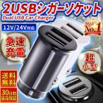 シガーソケット USB 小形 車載充電器 2ポート 急速充電3.1A  12V 24V