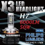 即日発送 送料無料 H7/35W X3 PHILIPS X3 ファンレス 一体型 LED KIT ヘッドライト 車検対応 安心1年保証