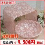 バラ柄アクリルバスチェア&洗面器Mサイズセット(ローズシモーヌ) 風呂いす アクリル セット 薔薇 お手入れ簡単 激安 風呂椅子(bara