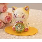 ラインストーンのデコレーションがかわいい風水エンジェル招き猫:イエロー商売繁盛 開店祝い 合格祈願 御祝 内祝 縁起物 招き猫 置物 貯金箱