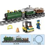 ブロック互換 レゴ 互換品 レゴ解放型機関車+カーゴトレイン ブルー 鉄道 電車 互換品クリスマス プレゼント