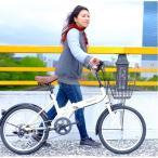 ショッピング自転車 折りたたみ自転車 20インチ/アイボリー シマノ6段変速 〔Raychell〕 レイチェルFB-206R