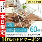 ラタン風フォールディングガラステーブル SCORPIO-スコルピオ- (ガラステーブル ガーデニング)