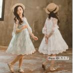 ワンピース 女の子 子供 キッズ  レレース刺繍ワンピース 半袖 子供ワンピース キッズドレス チュールワンピース キャミソール付き 結婚式の画像