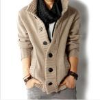 カーディガン メンズ メンズファッション 無地 長袖カーデガン カラー 綿 コット 春 秋 冬 シンプル スクール セーター トップス