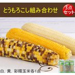 とうもろこし組み合わせ【3点セット】白糯玉米、黄糯玉米と彩糯玉米各1本 250g 真空パック調理済み 温めるだけ   中国産