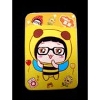 定期入れ パスケース メンズ レディース かわいい カードケース 薄型 黄色 イエロー 女の子 イラスト ICカード入れ 名刺入れ SA-167 DM便OK