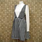 Vネック ブロックチェック柄 ジャンパースカート サイズ:M カラー:ブラック