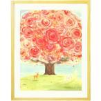 優しい花の絵画 インテリア 壁掛け [いのちの樹] 額入りS(270×220mm) 玄関 風水 リビング 部屋に飾る絵 小さいサイズ インテリア 人気 内祝い お返し ギフト