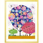 ショッピングお祝い 喜寿祝い 古希お祝い 絵画アート(しあわせ花音 藍色/名前入れ-Sサイズ) 傘寿祝い 紺色 紫 百寿 白寿 プレゼント 贈り物 品物 女性 70歳 77歳 88歳 80歳
